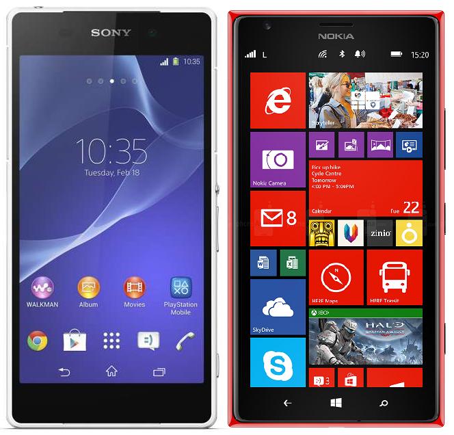 Comparison of Sony Xperia Z2 vs. Nokia Lumia 1520 Specs & Features