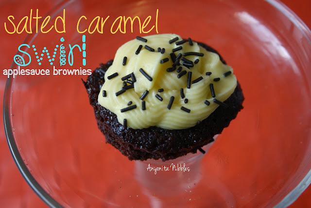 Salted Caramel Swirl, Egg-less Applesauce Brownies