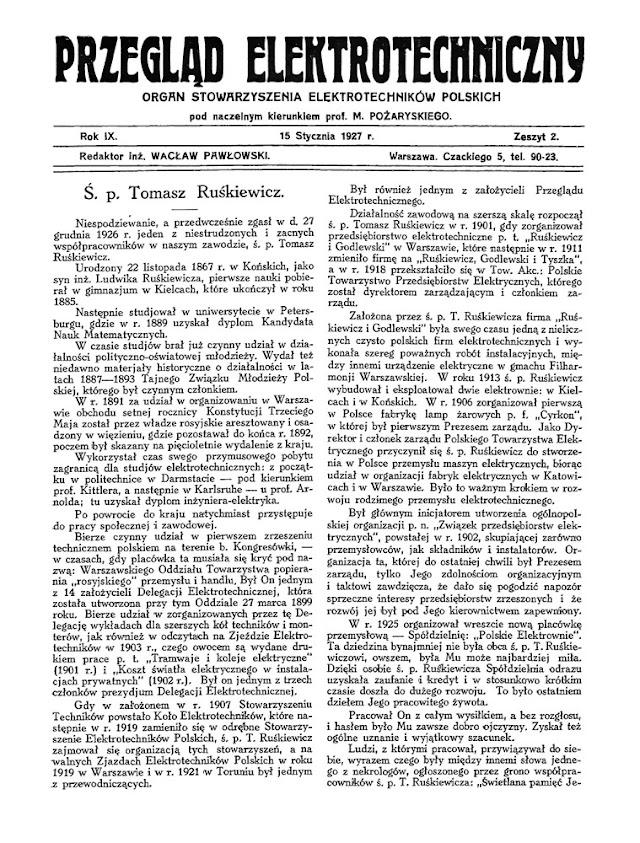 Przegląd Elektrotechniczny z 15.01.1927. Okolicznościowe mowy żałobne poświęcone Tomaszowi Ruśkiewiczowi. [w: Federacja Bibliotek Cyfrowych]