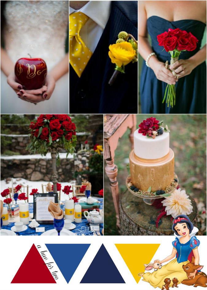 Burgundy Navy And Yellow Snow White Themed Wedding