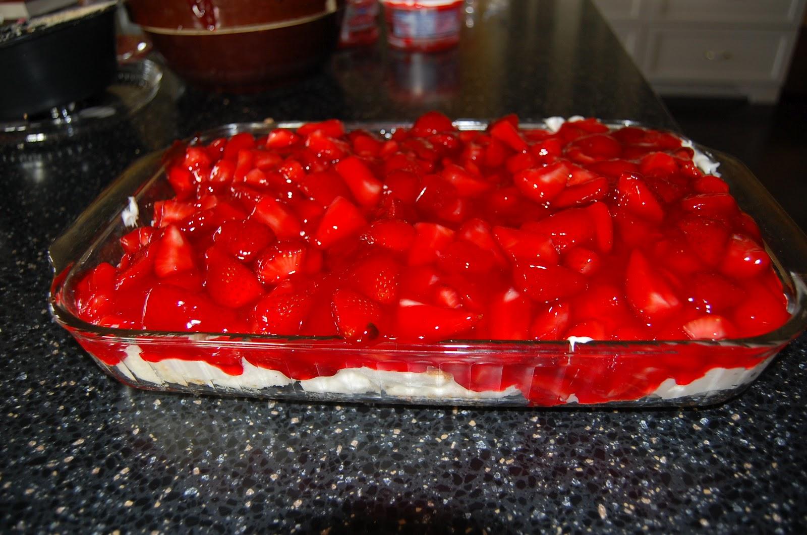 Watercolor Stream: Strawberry Angel Food Dessert