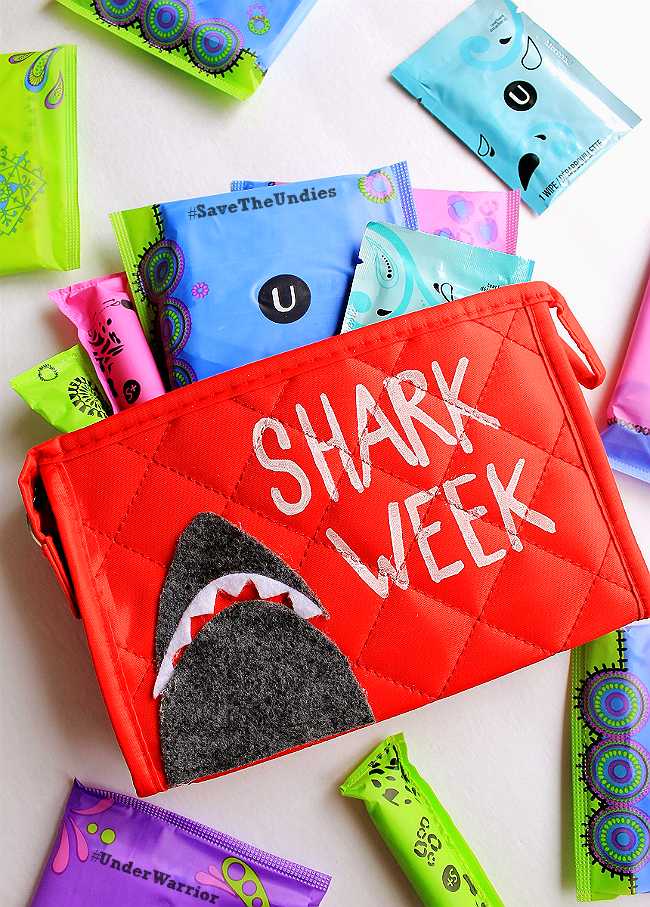 When Aunt Flo's in town it can feel like a real life #SharkWeek- Every pair of panties for themselves. This DIY clutch is the perfect reminder to always be prepared to unleash the #UnderWarrior in yourself with U By Kotex! #SaveTheUndies #Sponsored