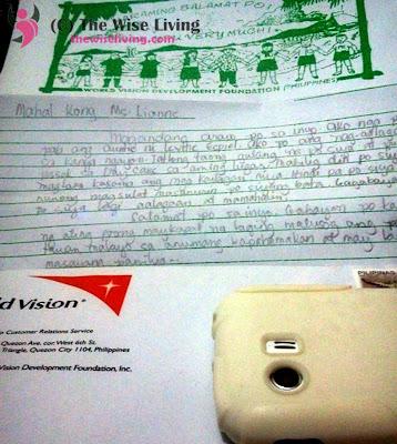 World Vision Sponsor a Child Letter