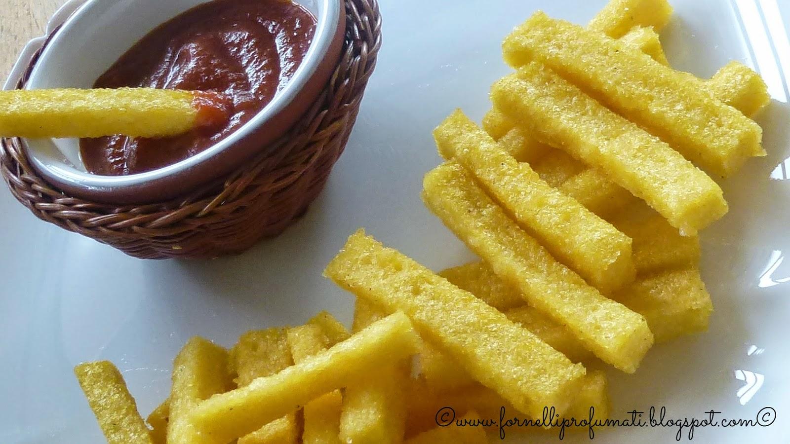 ketchup home-made  e patatine di polenta