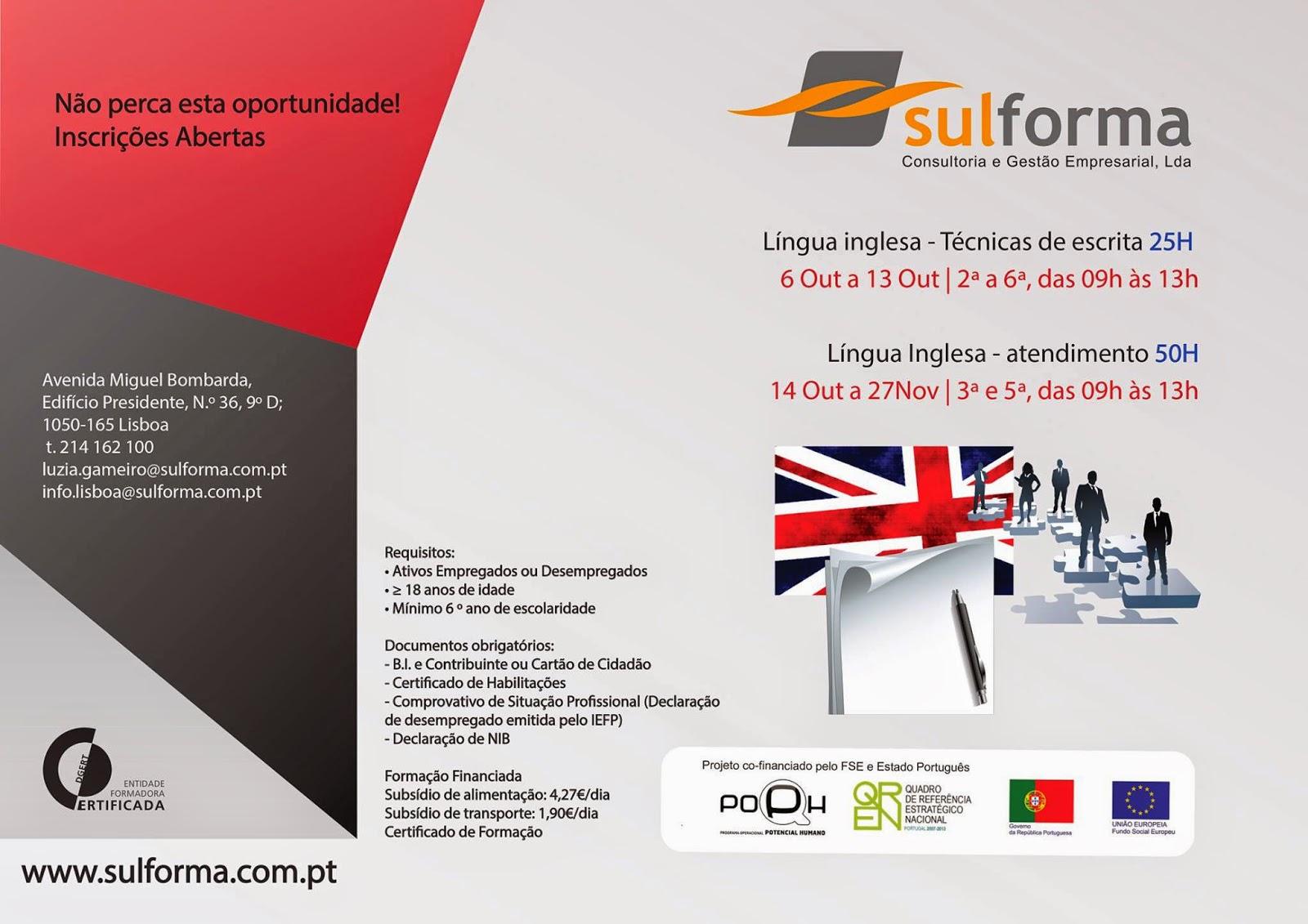 Cursos co financiados de Língua Inglesa em Lisboa (horário laboral)