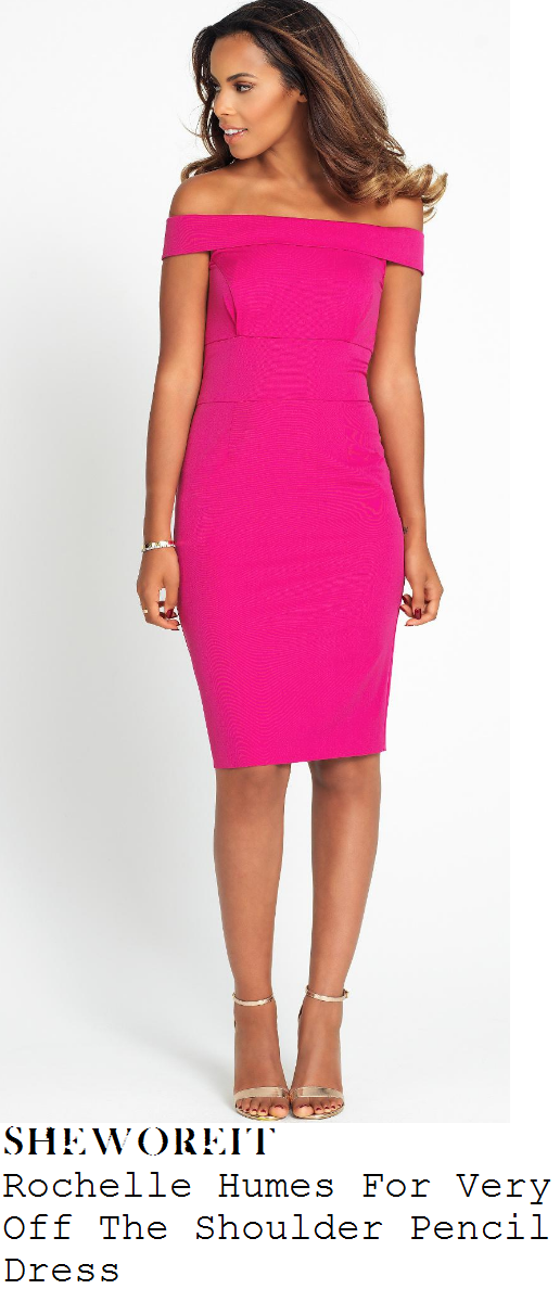 rochelle-humes-bright-hot-pink-off-the-shoulder-bodycon-pencil-dress-strictly-come-dancing