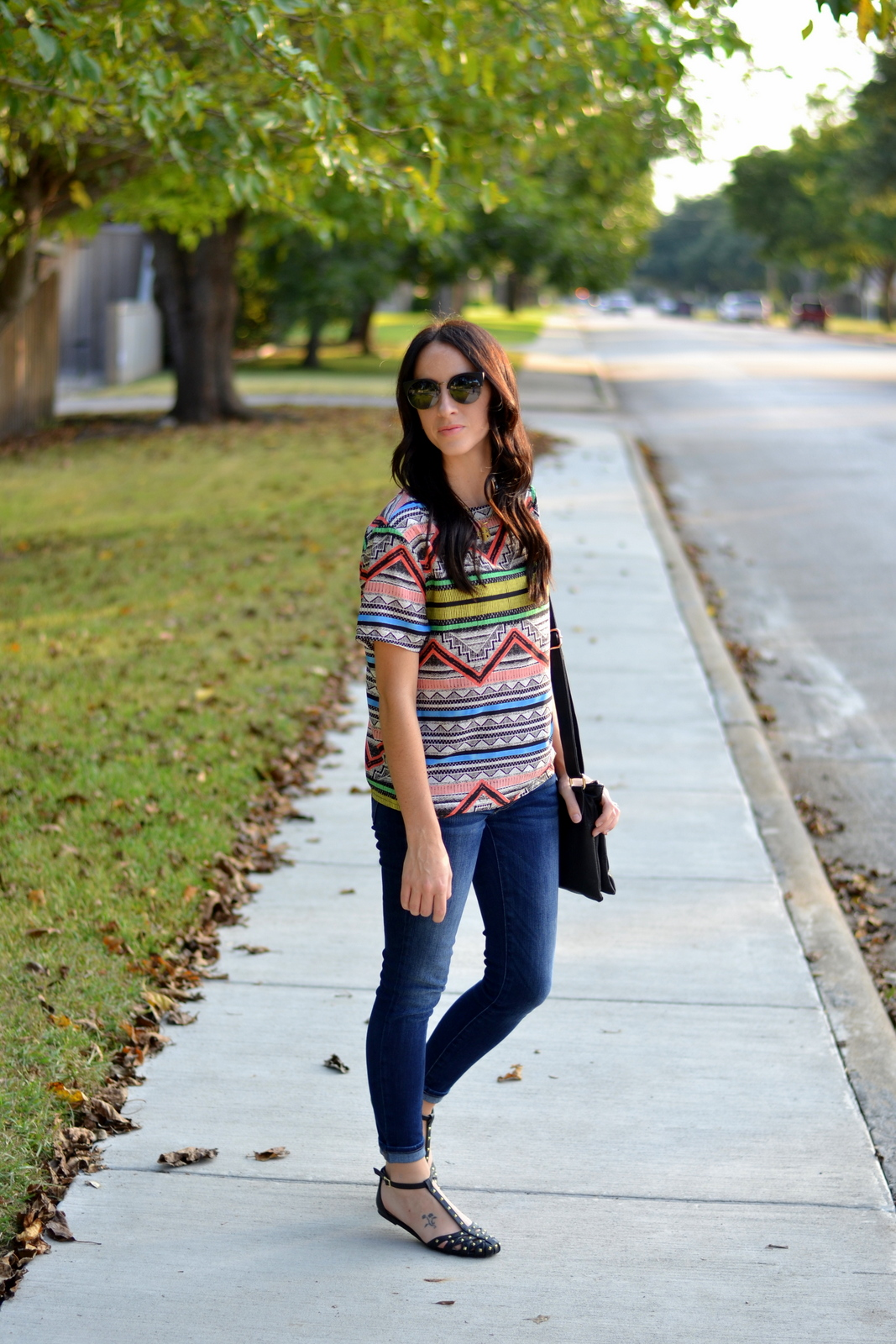 Aztec Top, Skinny Jeans, Cat Eye Sunglasses, Studded Flats