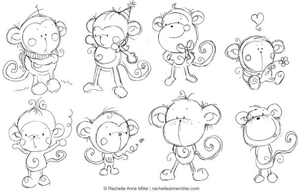 рисованные смешные обезьяны