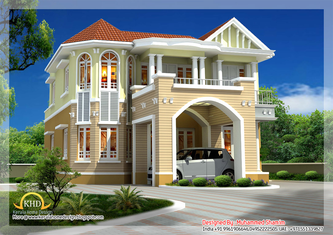 Beautiful house elevation 2590 sq ft indian home decor for Cool house wallpaper