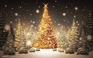 La nieve en la noche Arboles de navidad de noche