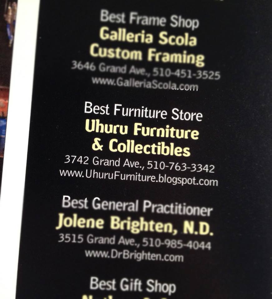 Thank you supporters! We WON the Oakland Magazine's 'Best Furniture Store' two years in a row!