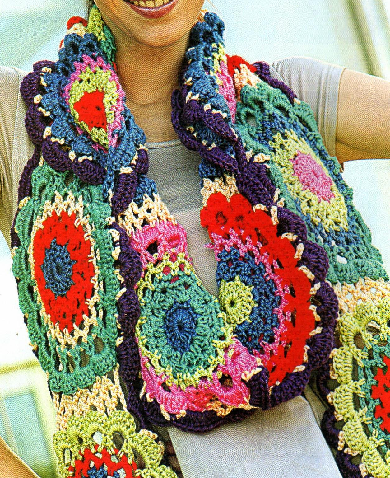 Tejidos artesanales en crochet original bufanda con for Disenos de ganchillo