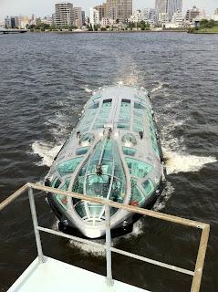 水上バスのヒミコを中央大橋から撮影