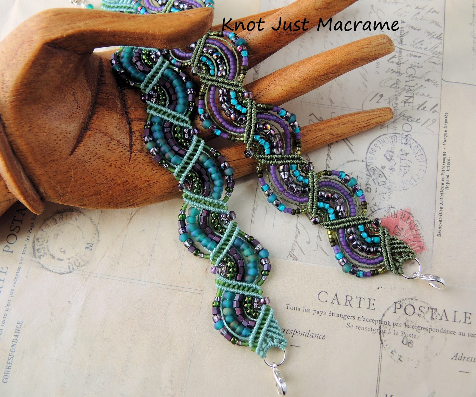 Wavy micro macrame bracelets in teal, purple and olive by Sherri Stokey