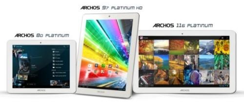 Nuova serie Platinium per i tablet di marca Archos con processore quad core e sistema operativo mobile Jelly Bean