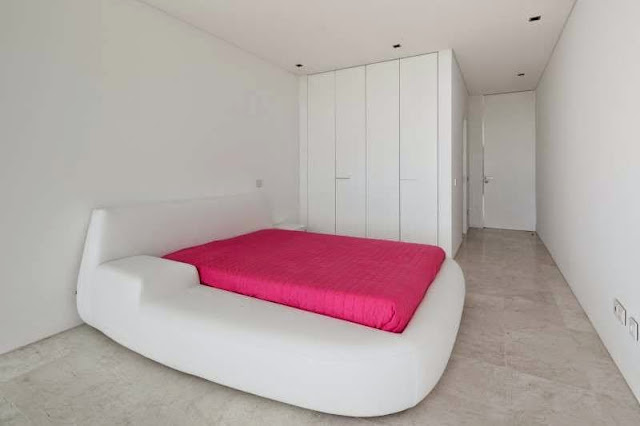 simple white bed room idea Modern House with Pool in Tavira