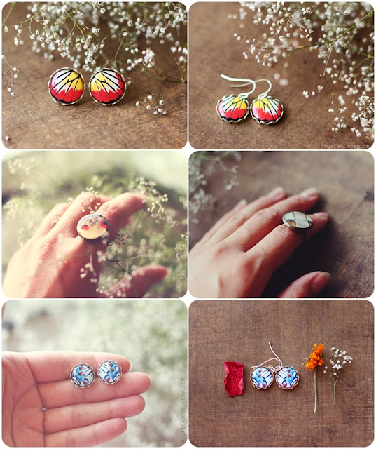 jewelry, earrings, rings, citruscat, citrus cat, butterfly, rustic, nature