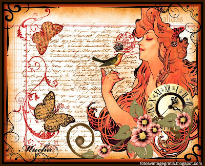 fondo vintage collage con ilustración de Alfons Maria Mucha