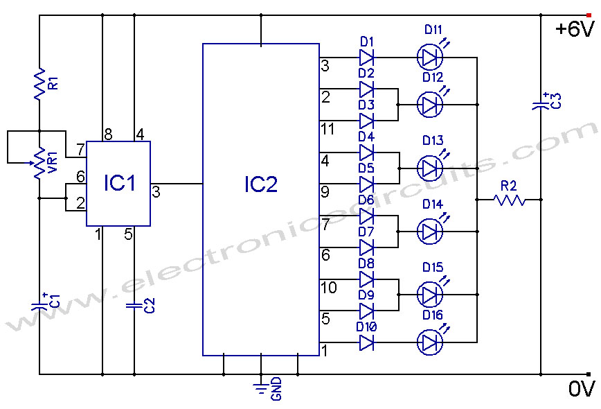 led knight rider using 4017 and 555 ic s schematic board rh schematicboard blogspot com