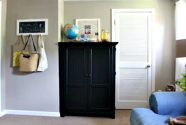 TV Cabinet Repurposed As Craft Storage
