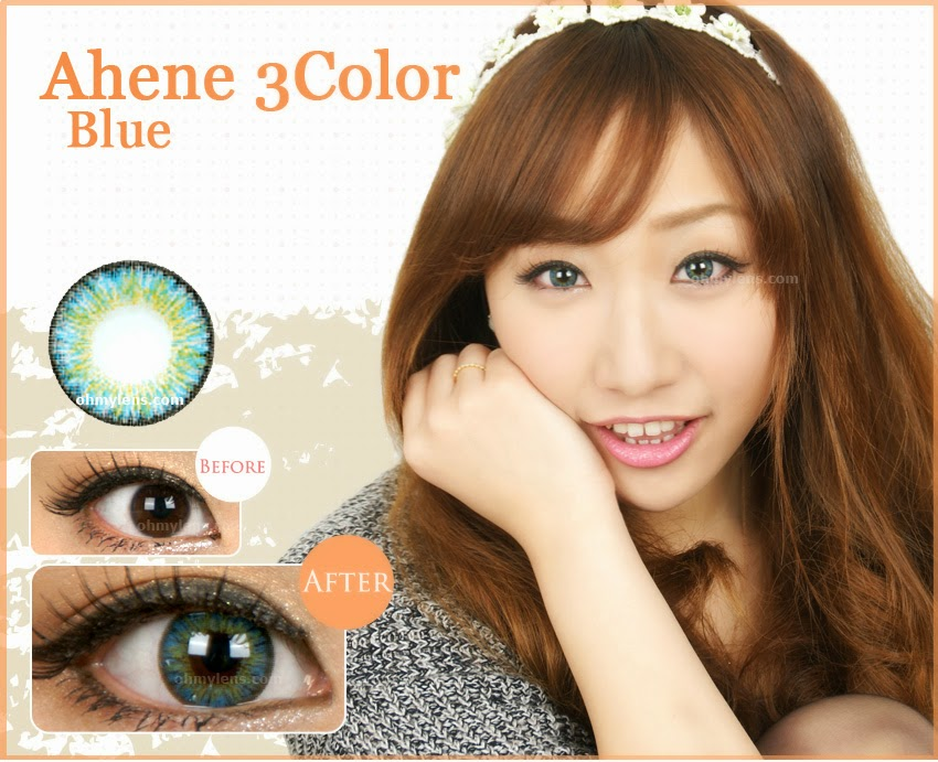 Ahene 3 Color Blue Contact Lenses (3 Tone Blue) at ohmylens.com
