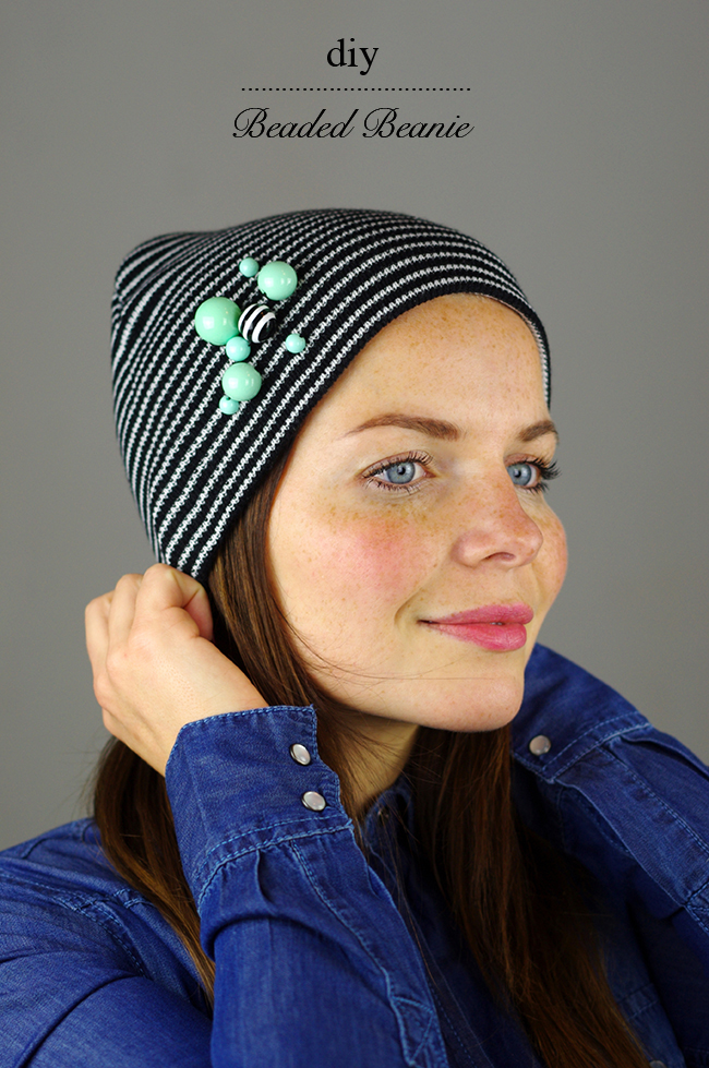 DIY Beaded Beanie via www.fashionrolla.com