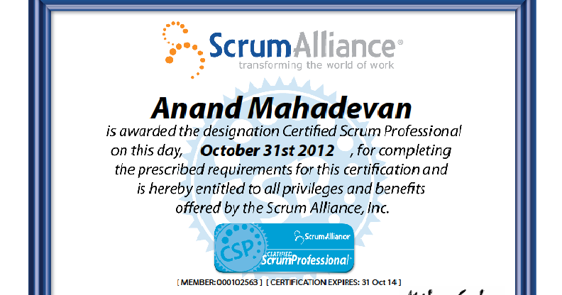 Agile Blog Wow I Have Become Certified Scrum Professional Csp