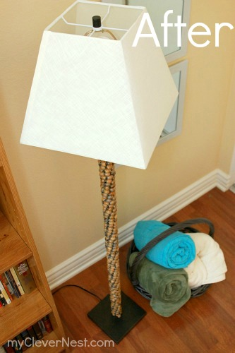 "making over a cheap floor lamp using beads! you have to see the ""after"" pics!"