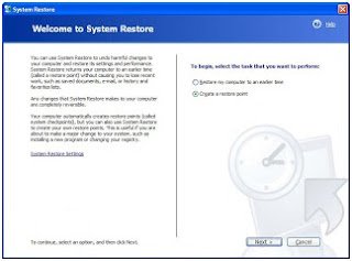 Mengaktifkan (backup) system restore windows
