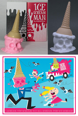 The Ice Scream Man Spiteful Strawberry & Villainous Vanilla Flavorways by Brutherford Industries and Ice Scream Man Art Print by Tamara Petrosino