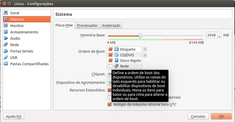Configurações do VirtualBox