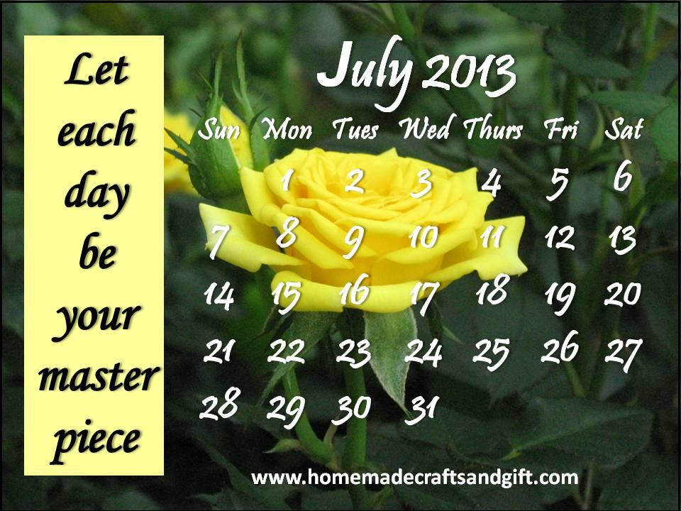 July 2013 Calendar