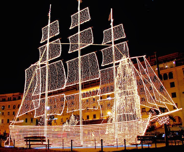 in some greek cities and ports like thessaloniki volos patra the greek islands etc it is a tradition to decorate a christmas boat - Greek Christmas Decorations