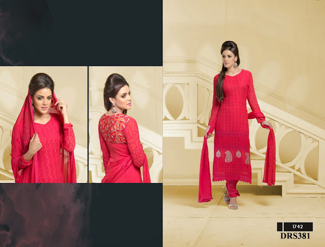 Buy Online Pure Chiffon Dress Material With Karachi Back Work