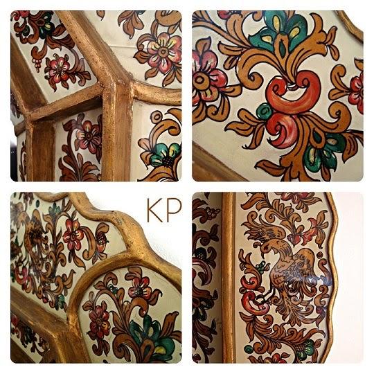 Espejos de pared antiguos artesanales pintados con adornos florales
