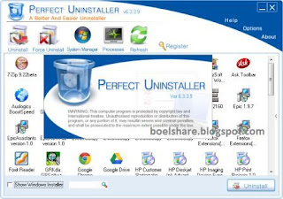 Secreenshot Perfect Uninstaller 6.3.3.9 Full Version + Serial Number/Key Terbaru