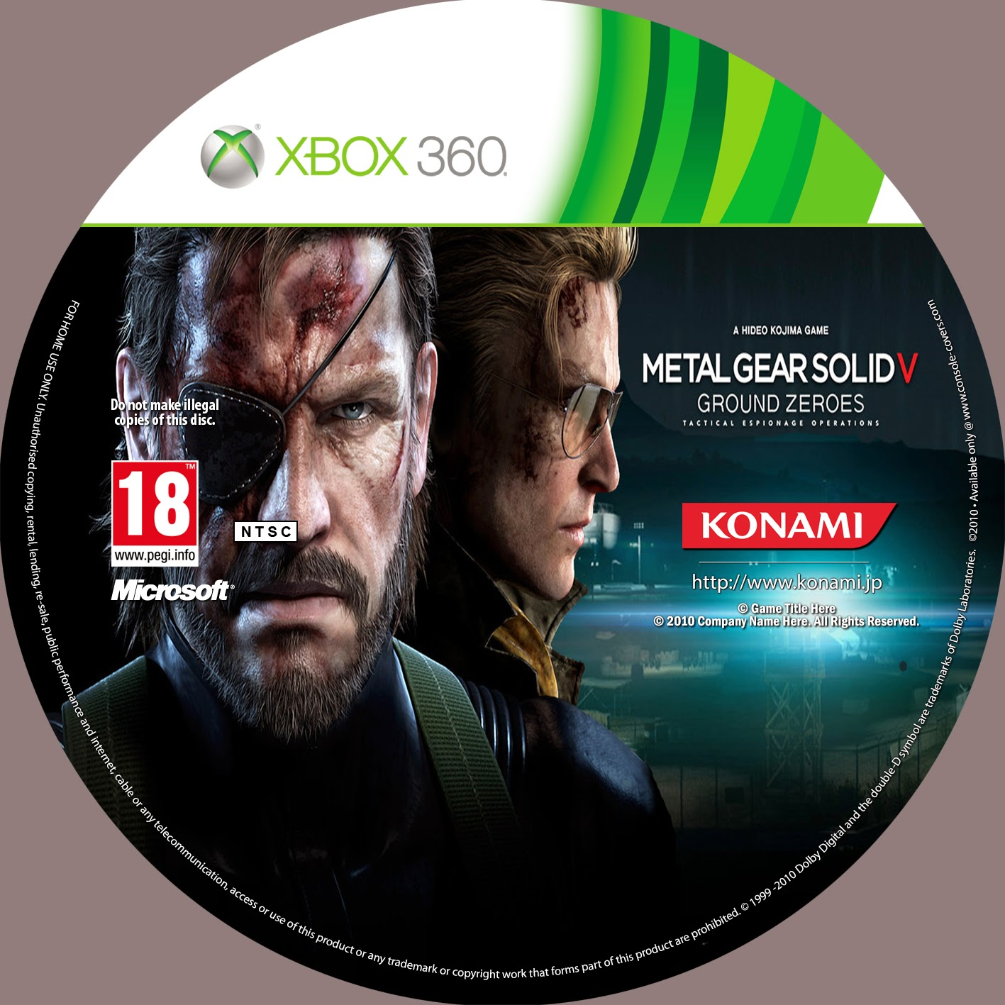 Capa Metal Gear Solid V Ground Zero XBOX 360