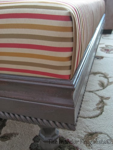 Dressing up a DIY upholstered ottoman with wood trim