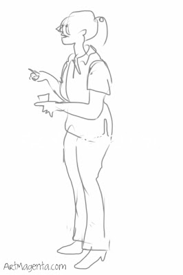 Nurse dictating advice. A gesture drawing by Artmagenta.