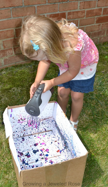 Create beautiful works of art using an electric mixer- such a fun way for kids to create!