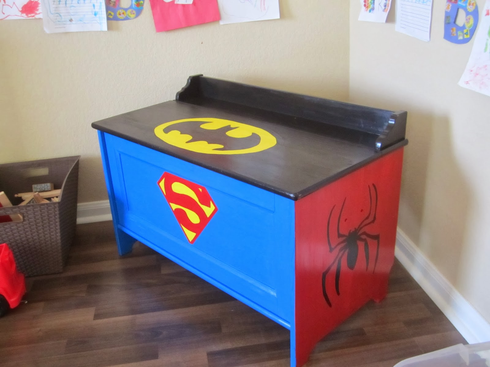 Toy Boxes For Boys : When the boys sleep superhero toy box