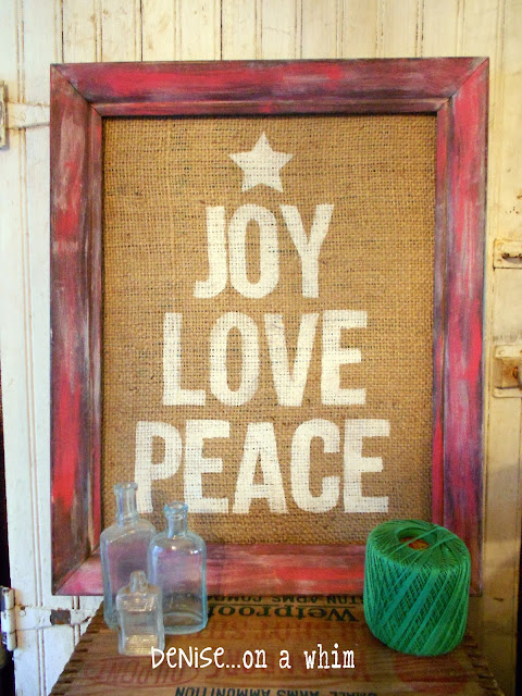 Painted Burlap Sign in a Red Rustic Frame via http://deniseonawhim.blogspot.com
