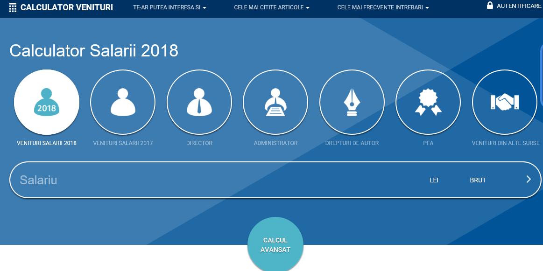 Calculator de salarii si venituri pentru anul curent si pentru 2018