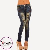 Jeansi skinny, de culoare albastra, cu imprimeu interesant ( )