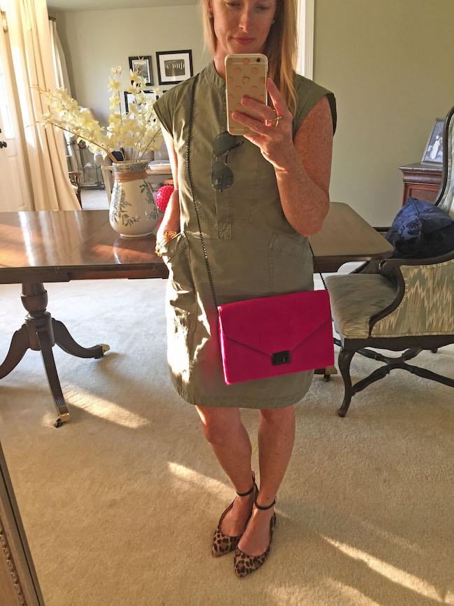 jcrew dress, randall loeffler bag, louise et cie shoes, ray ban sunnies, kate spade iphone case,