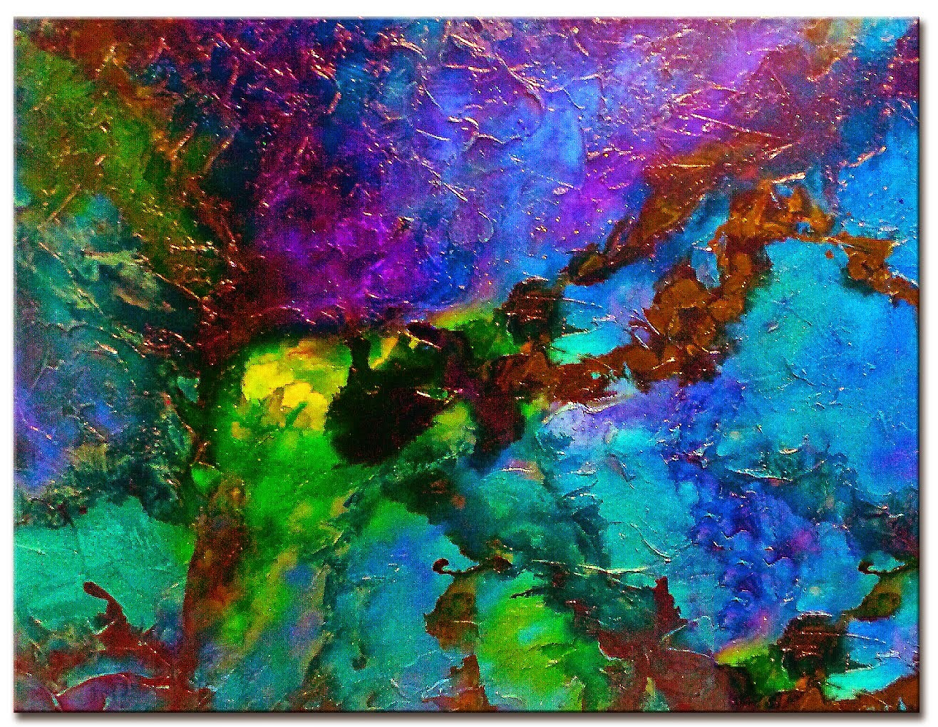 "Abstract Painting ""Colors of the Sea"" by Dora Woodrum"