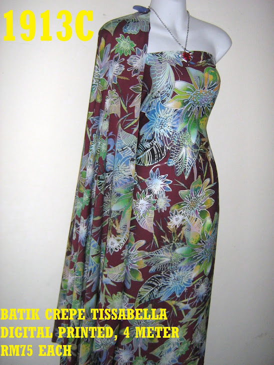BTD 1913C: BATIK CREPE TISSABELLA DIGITAL PRINTED, EXCLUSIVE DESIGN, 4 METER