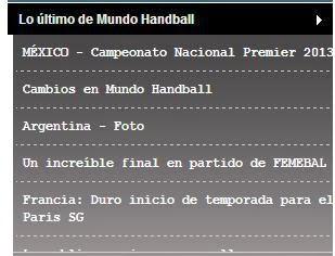 widget con últimas actualizaciones en Mundo Handball (todas las secciones)