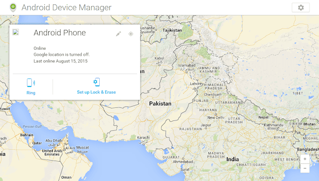 Android Device Manager's startup page
