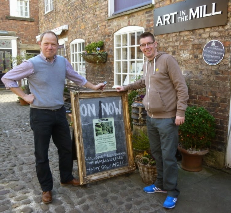 Andy Grinter from Art in the Mill is a local businessman and minigolf enthusiast. Ahead of our arrival in town he'd chalked up a message for us on our visit to Knaresborough